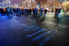 ` dieven` bericht bij protest, Boekarest, Roemenië Stock Afbeelding