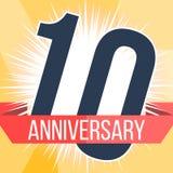 Diez años de bandera del aniversario 10mo logotipo del aniversario Ilustración del vector Fotografía de archivo