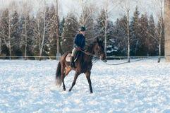 Diez años de muchacha que monta un caballo en invierno Fotos de archivo libres de regalías