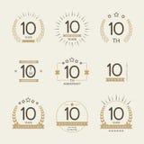 Diez años del aniversario de logotipo de la celebración 10ma colección del logotipo del aniversario Fotos de archivo libres de regalías