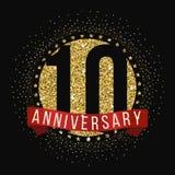 Diez años del aniversario de logotipo de la celebración 10mo logotipo del aniversario Imágenes de archivo libres de regalías