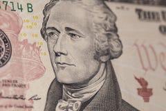 Diez billete de dólar Hamilton Fotos de archivo
