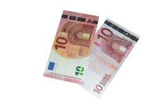 Diez billetes de banco euro nuevos y viejos Imágenes de archivo libres de regalías