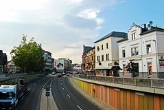 Diez city Limburger street sunny day view. Germany. Royalty Free Stock Images