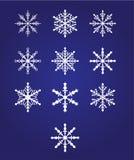 Diez copos de nieve hermosos Imágenes de archivo libres de regalías