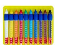 Diez creyones de cera coloreados Fotografía de archivo libre de regalías