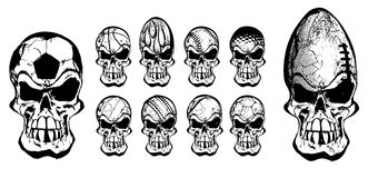 Diez cráneos de la bola Foto de archivo libre de regalías