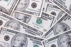 Diez cuentas de dólar Imágenes de archivo libres de regalías