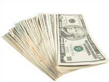 Diez cuentas de dólar Foto de archivo libre de regalías