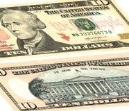Diez dólares de E.E.U.U. El frente y el dorso foto de archivo libre de regalías