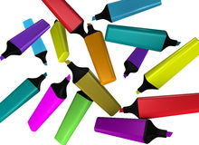 Diez highlighters de diversos colores Fotografía de archivo libre de regalías