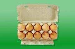Diez huevos en el rectángulo gris. Foto de archivo libre de regalías