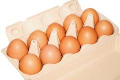 Diez huevos en paquete Fotografía de archivo libre de regalías