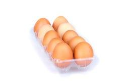 Diez huevos en un paquete transparente plástico Imágenes de archivo libres de regalías