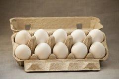 Diez huevos en un rectángulo Imagenes de archivo