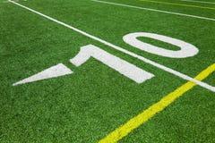 Diez línea de yardas - fútbol Foto de archivo libre de regalías