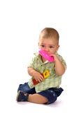 Diez meses de bebé con los juguetes Fotos de archivo libres de regalías