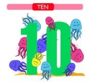 diez Número de colección para la guardería y el preescolar Aprenda el número 10 Medusas stock de ilustración