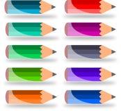 Diez pequeños lápices imágenes de archivo libres de regalías