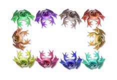 Diez ranas coloridas forman un marco Imagen de archivo libre de regalías