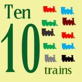Diez trenes del juguete Foto de archivo libre de regalías