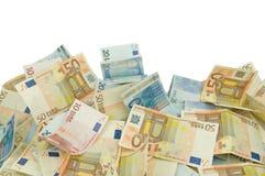Diez veinte y cincuenta cuentas de los euros imágenes de archivo libres de regalías