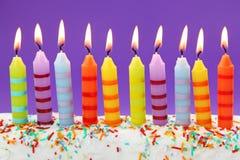 Diez velas del cumpleaños imágenes de archivo libres de regalías
