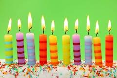 Diez velas del cumpleaños Imagen de archivo libre de regalías