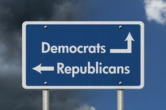 Diferença entre Democratas e republicanos imagem de stock