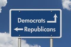 Diferença entre Democratas e republicanos imagens de stock royalty free