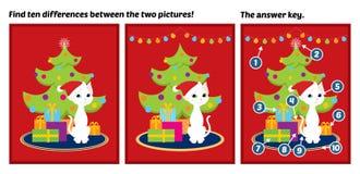 Diferenças brancas do achado do gato da árvore de Natal Imagens de Stock Royalty Free