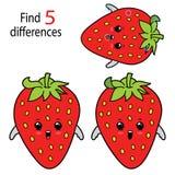 Diferenças do achado 5 da morango Fotografia de Stock
