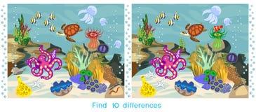 Diferenças do achado dez Jogo para crianças com ecossistema do recife de corais com os habitantes marinhos diferentes ilustração royalty free