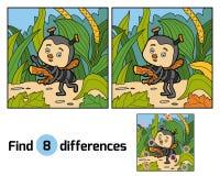 Diferenças do achado para crianças Formiga pequena no prado Imagem de Stock Royalty Free