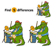 Diferenças do achado, jogo para crianças (crocodilo e cilindro) Imagem de Stock Royalty Free