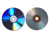 Diferencia de los compact-disc - vacía y Cdes llenos aislados foto de archivo libre de regalías