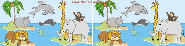 Diferencias Animals-10 Imagen de archivo libre de regalías