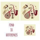 Diferencias del hallazgo diez Sistema de instrumentos musicales eslavos, ucranianos tradicionales dibujados mano en círculo Tubo  libre illustration