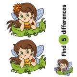 Diferencias del hallazgo, juego para los niños: pequeña hada libre illustration