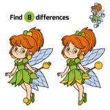 Diferencias del hallazgo, juego para los niños: pequeña hada Fotografía de archivo libre de regalías