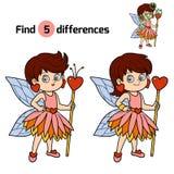 Diferencias del hallazgo, juego para los niños: pequeña hada Fotos de archivo libres de regalías