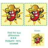 Diferencias del hallazgo 5 - rompecabezas para los niños Foto de archivo