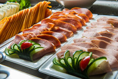 Diferent meat appetizers in buffet. Royalty Free Stock Images