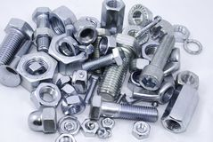 Diferent nuts and bolts Stock Image