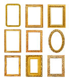 Diferent shape golden frames Stock Photography