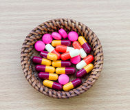 Diferent Tablets pills capsule heap Stock Images