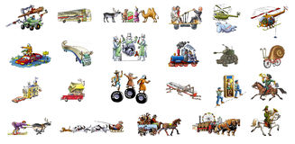 Diferent transport. Many diferent transport (car, horse, helicopter, train, airplane Stock Image