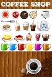 Diferente tipo de bebidas y de postres en cafetería ilustración del vector