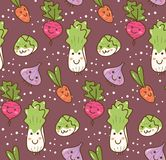Diferente tipo de fondo vegetal del kawaii libre illustration