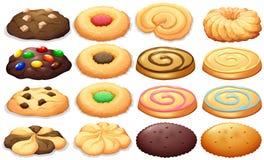 Diferente tipo de galletas ilustración del vector